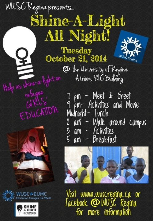 Come hang out with us all night in support of refugee girls education. With lots of food, activities and fun  come in support of our cause! From 7 pm - 5 am. We will be staying up all night in support of girls who study all night and work all day. If they can do it so can we!